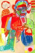 Caroline Demangel, Toutankhâmon, 2016, technique mixte sur papier, 120 x 80 cm. Crédits photographiques : Patrice Bouvier