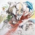 """Christophe Boursault_""""La fuite des egos""""_2015_techniques mixtes sur toile_155x155cm_courtesy Galerie Polad-Hardouin"""