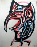 Jacques Grinberg, La Chouette, 1988, gouache sur papier, 65 x 50 cm