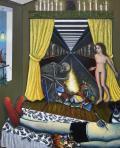 """Eric Corne, """"Les lumières de l autodafé, à Umberto D"""", 2016, huile sur toile, 226 x 183 cm © R. Fanuele"""